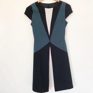 Zara color block dress formal blue black Sz XS